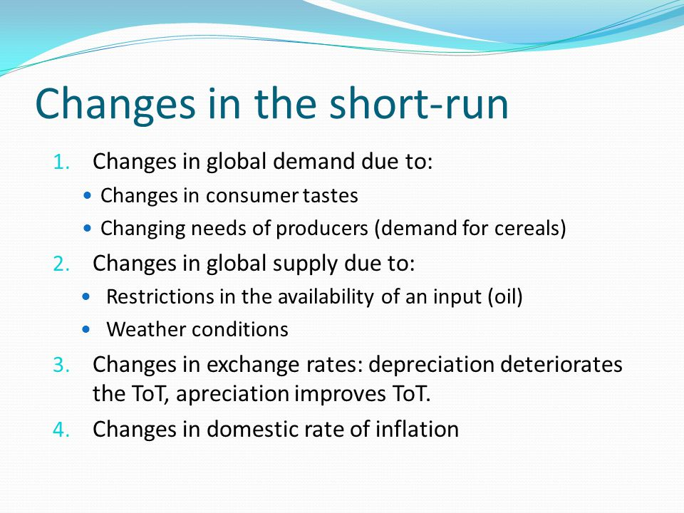 Changes in the short-run 1.