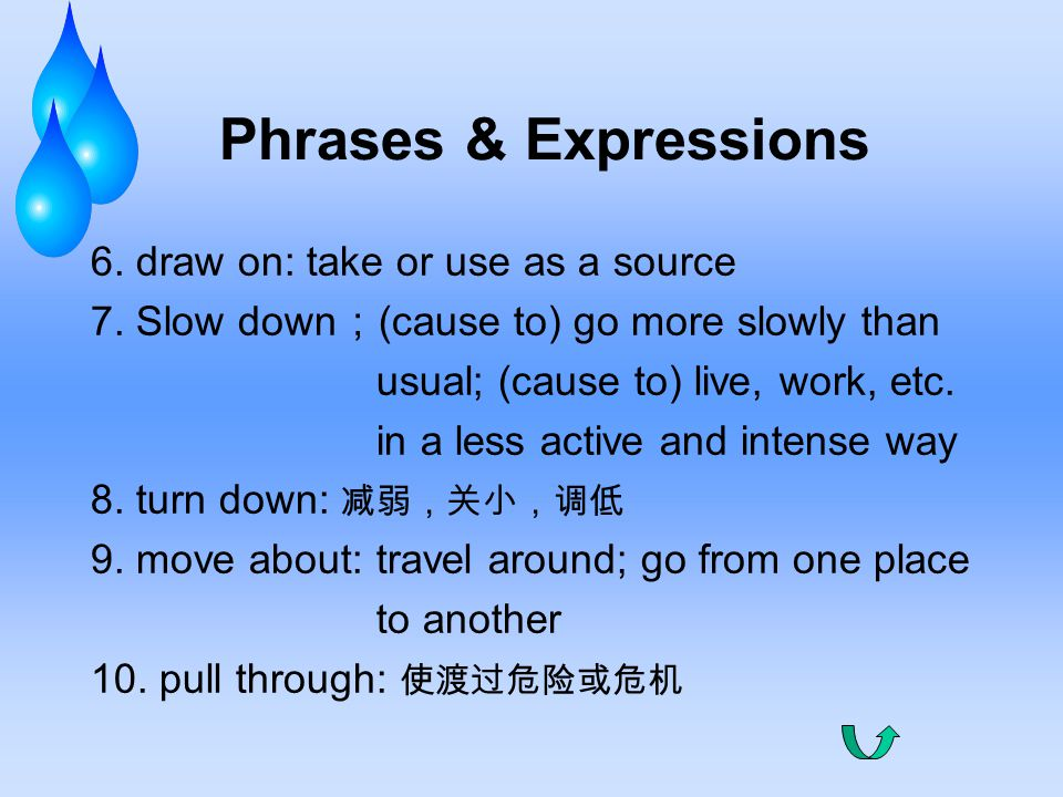Phrases & Expressions 6. draw on: take or use as a source 7.