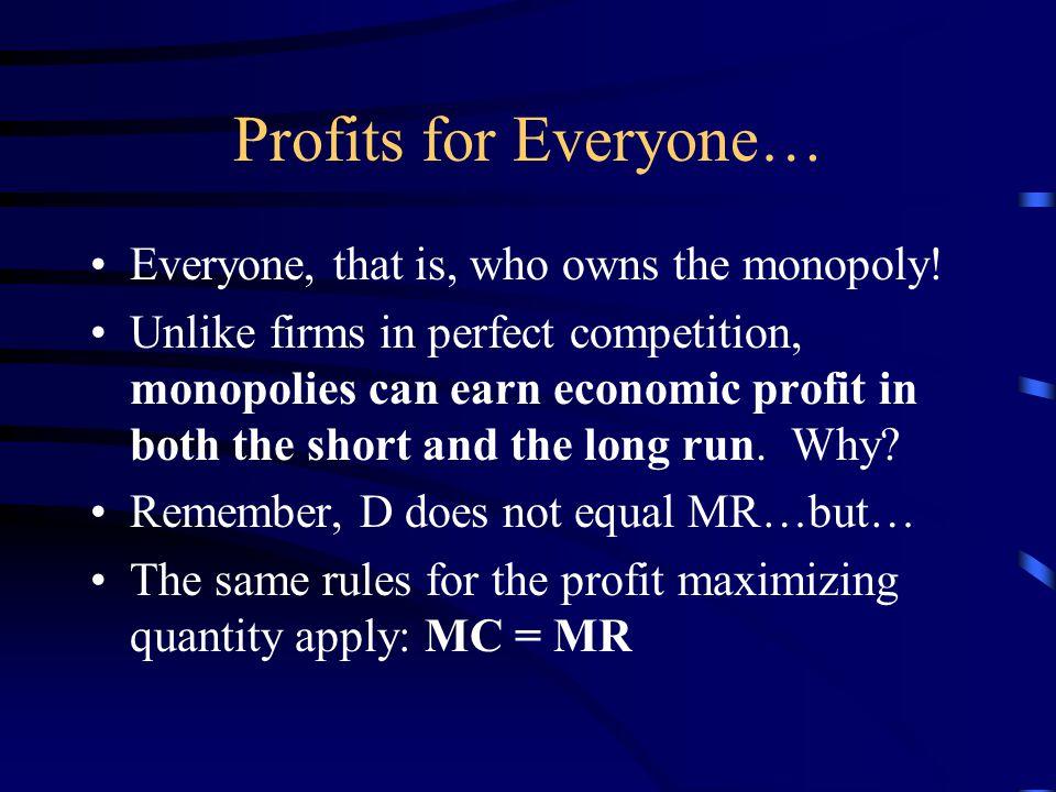 The Pure Monopolist D=ARMR ATC MC QmQm PmPm Profit Q PC
