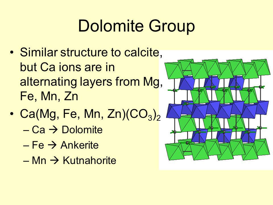 Dolomite Group Similar structure to calcite, but Ca ions are in alternating layers from Mg, Fe, Mn, Zn Ca(Mg, Fe, Mn, Zn)(CO 3 ) 2 –Ca  Dolomite –Fe  Ankerite –Mn  Kutnahorite