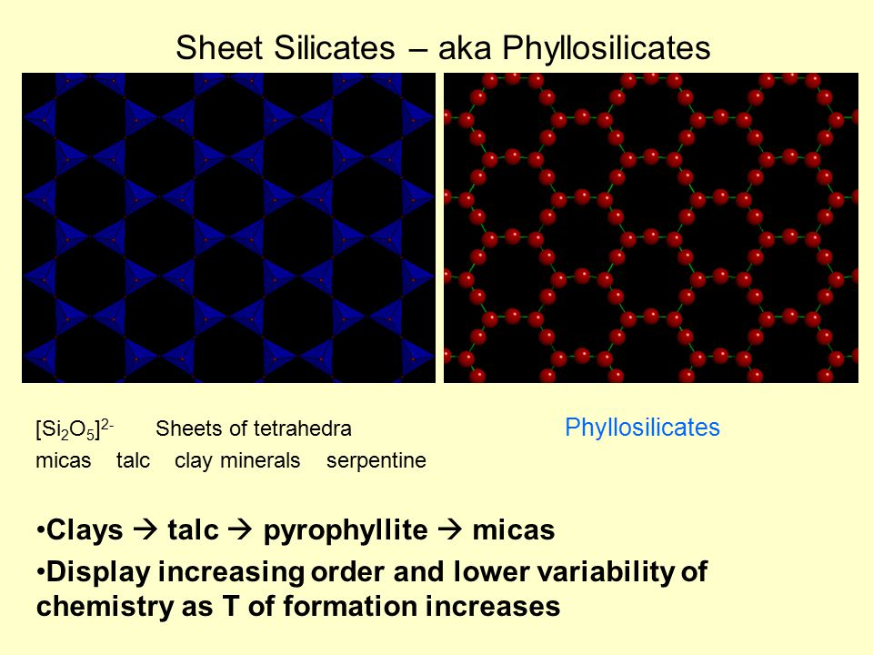 Sheet Silicates – aka Phyllosilicates [Si 2 O 5 ] 2- Sheets of tetrahedra Phyllosilicates micas talc clay minerals serpentine Clays  talc  pyrophyllite  micas Display increasing order and lower variability of chemistry as T of formation increases