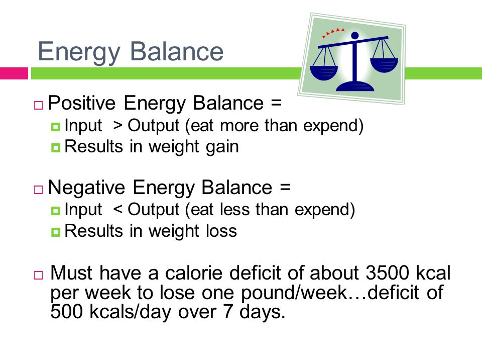 Energy Balance  Positive Energy Balance =  Input > Output (eat more than expend)  Results in weight gain  Negative Energy Balance =  Input < Output (eat less than expend)  Results in weight loss  Must have a calorie deficit of about 3500 kcal per week to lose one pound/week…deficit of 500 kcals/day over 7 days.