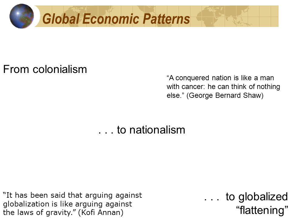 Global Economic Patterns From colonialism... to nationalism...