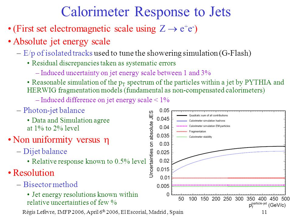 Régis Lefèvre, IMFP 2006, April 6 th 2006, El Escorial, Madrid, Spain11 Calorimeter Response to Jets (First set electromagnetic scale using Z  e + e - ) Absolute jet energy scale –E/p of isolated tracks used to tune the showering simulation (G-Flash) Residual discrepancies taken as systematic errors –Induced uncertainty on jet energy scale between 1 and 3% Reasonable simulation of the p T spectrum of the particles within a jet by PYTHIA and HERWIG fragmentation models (fundamental as non-compensated calorimeters) –Induced difference on jet energy scale < 1% –Photon-jet balance Data and Simulation agree at 1% to 2% level Non uniformity versus  –Dijet balance Relative response known to 0.5% level Resolution –Bisector method Jet energy resolutions known within relative uncertainties of few %