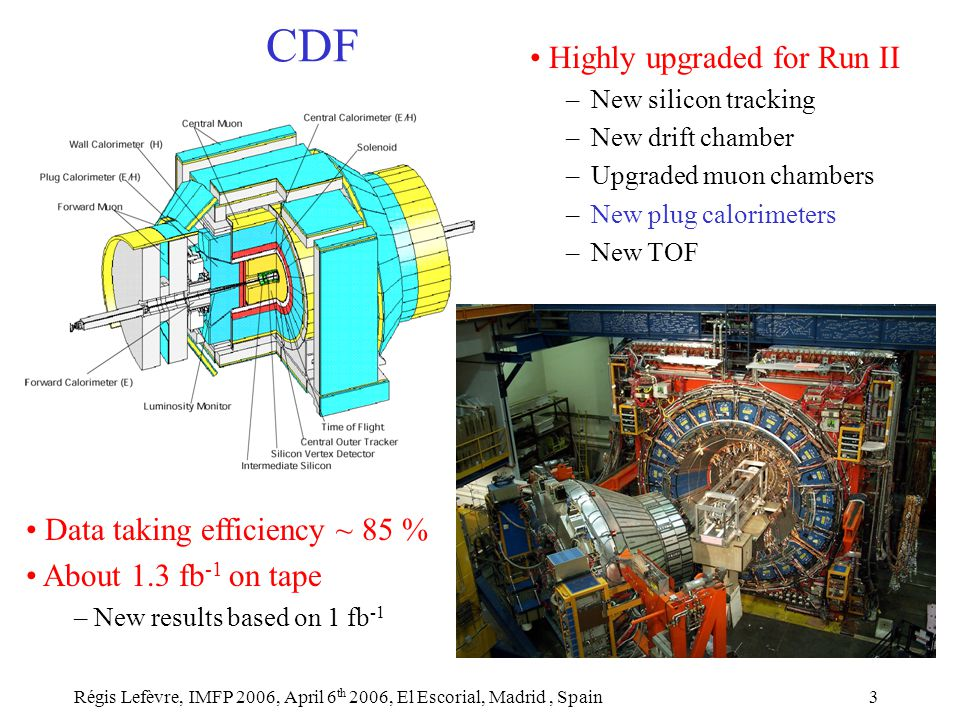 Régis Lefèvre, IMFP 2006, April 6 th 2006, El Escorial, Madrid, Spain3 CDF Highly upgraded for Run II – New silicon tracking – New drift chamber – Upgraded muon chambers – New plug calorimeters – New TOF Data taking efficiency ~ 85 % About 1.3 fb -1 on tape – New results based on 1 fb -1