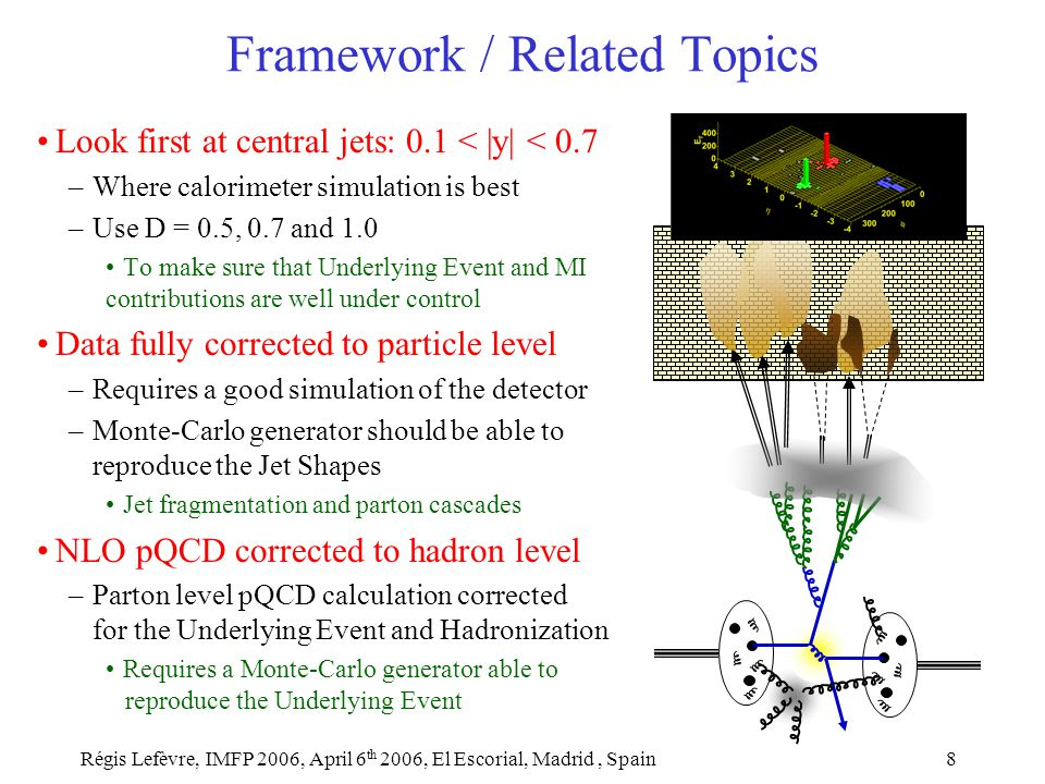 Régis Lefèvre, IMFP 2006, April 6 th 2006, El Escorial, Madrid, Spain8 Framework / Related Topics Look first at central jets: 0.1 < |y| < 0.7 –Where calorimeter simulation is best –Use D = 0.5, 0.7 and 1.0 To make sure that Underlying Event and MI contributions are well under control Data fully corrected to particle level –Requires a good simulation of the detector –Monte-Carlo generator should be able to reproduce the Jet Shapes Jet fragmentation and parton cascades NLO pQCD corrected to hadron level –Parton level pQCD calculation corrected for the Underlying Event and Hadronization Requires a Monte-Carlo generator able to reproduce the Underlying Event
