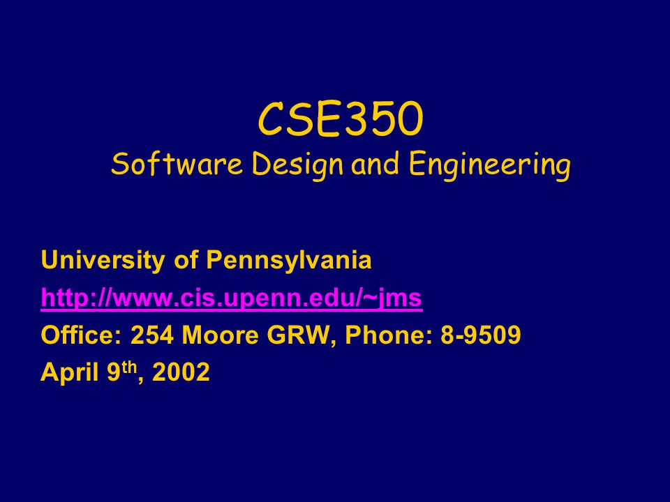 Administrative: Lectures lToday: Engineering Trustworthy Software (the POSSE project) l4/16 (last class): Semester Summary