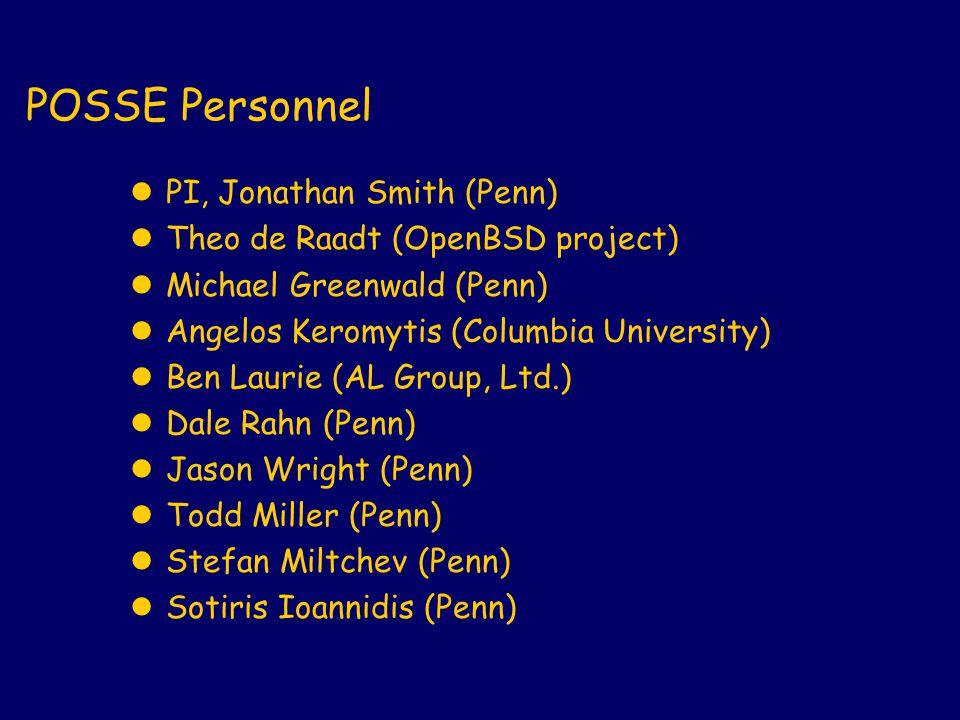 POSSE Personnel lPI, Jonathan Smith (Penn) lTheo de Raadt (OpenBSD project) lMichael Greenwald (Penn) lAngelos Keromytis (Columbia University) lBen Laurie (AL Group, Ltd.) lDale Rahn (Penn) lJason Wright (Penn) lTodd Miller (Penn) lStefan Miltchev (Penn) lSotiris Ioannidis (Penn)