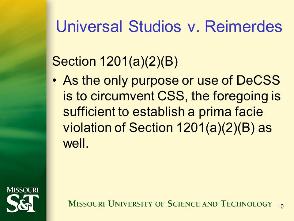 10 Universal Studios v.