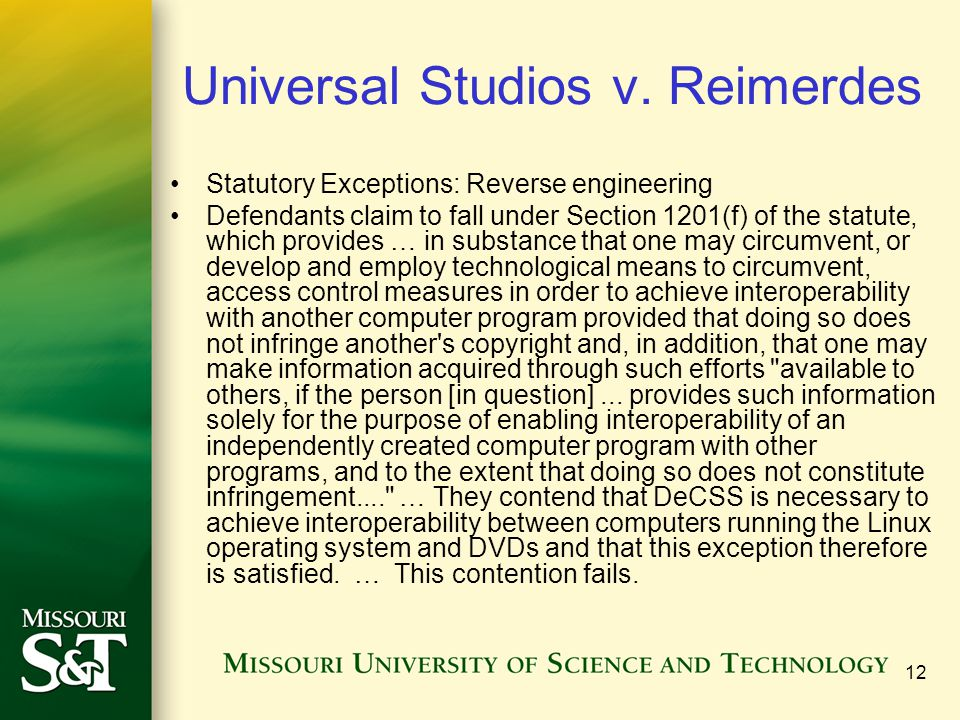 12 Universal Studios v.