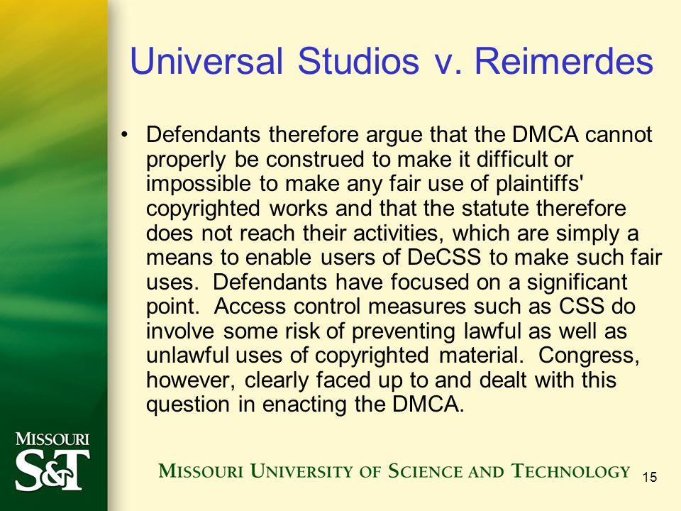 15 Universal Studios v.