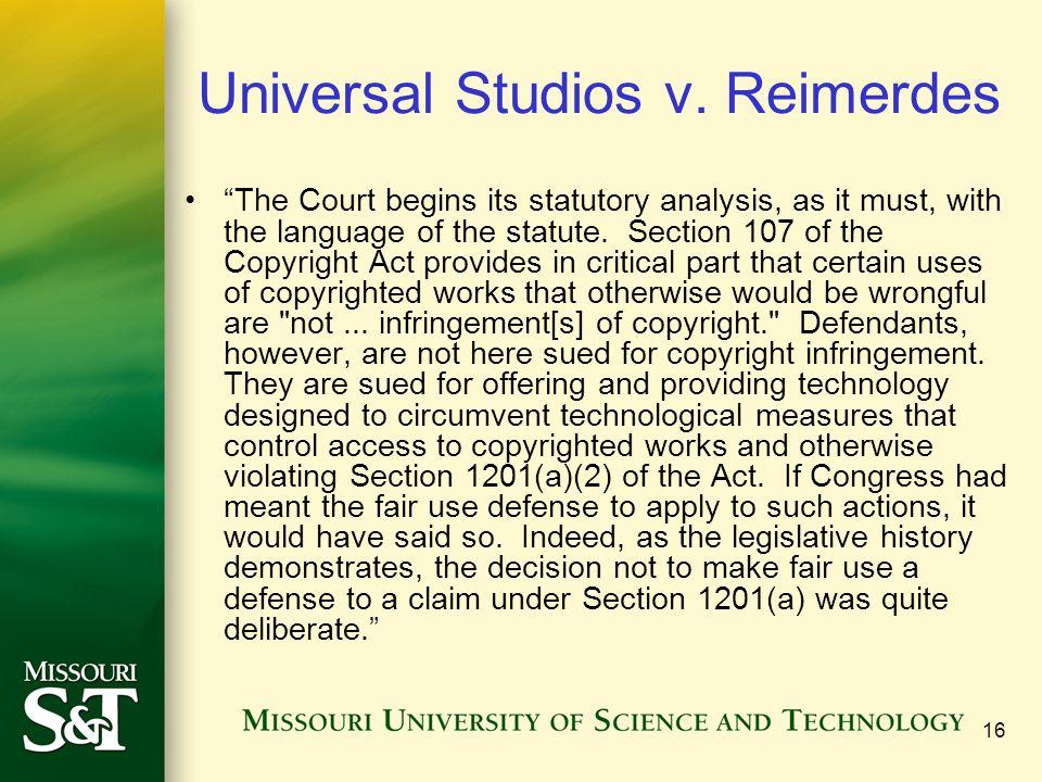 16 Universal Studios v.