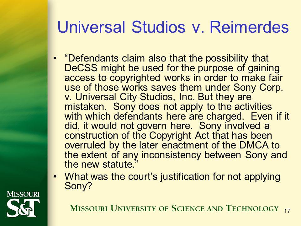 17 Universal Studios v.