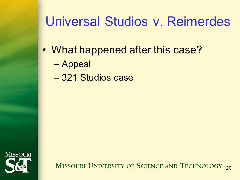 20 Universal Studios v. Reimerdes What happened after this case? –Appeal –321 Studios case