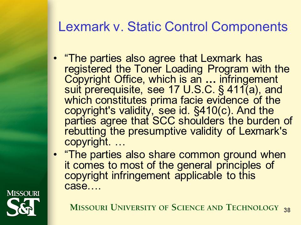 38 Lexmark v.