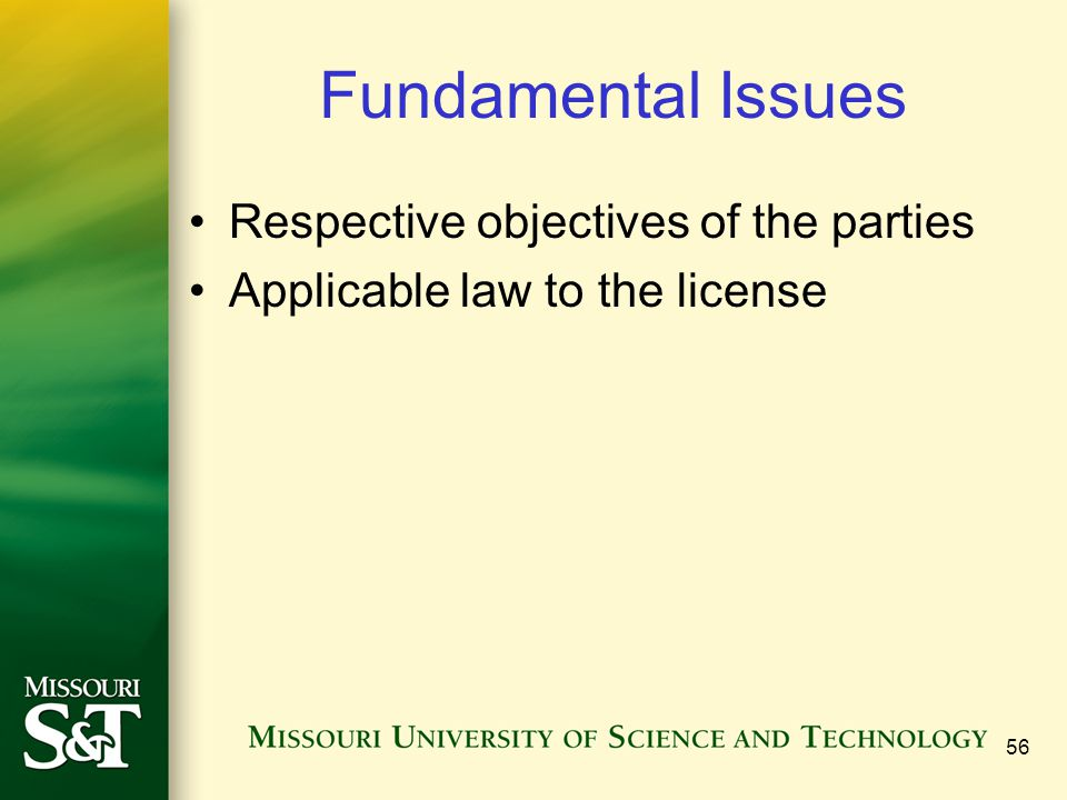 Fundamental Issues Respective objectives of the parties Applicable law to the license 56