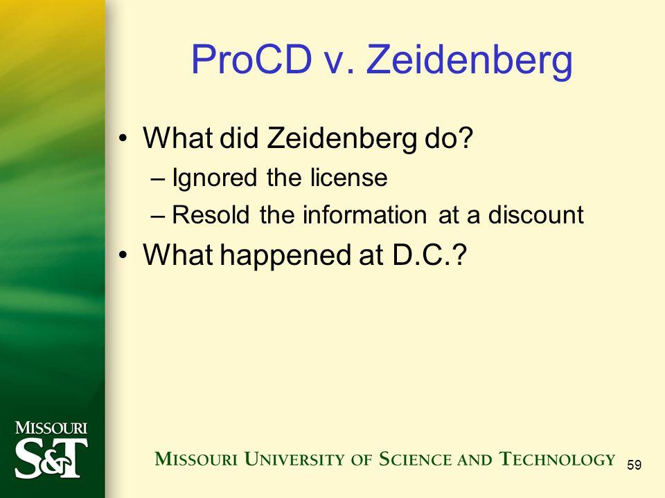 59 ProCD v. Zeidenberg What did Zeidenberg do.