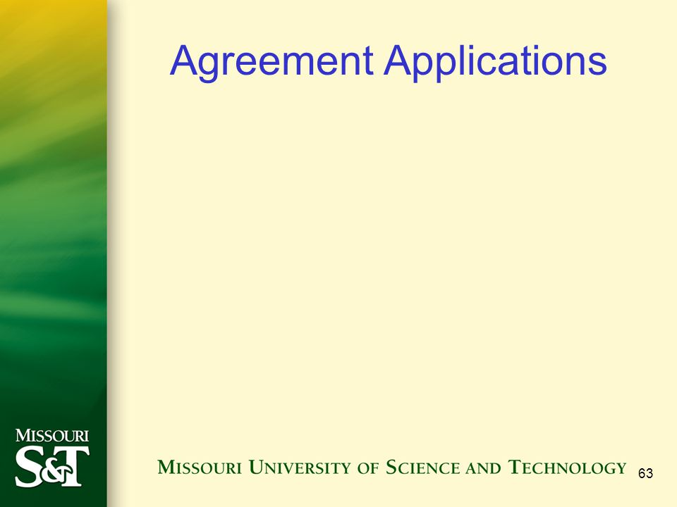 Agreement Applications 63
