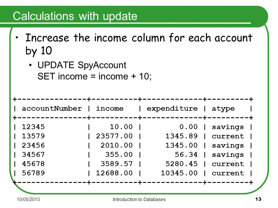 10/05/2015Introduction to Databases 13 Calculations with update Increase the income column for each account by 10 UPDATE SpyAccount SET income = income + 10; +---------------+----------+-------------+---------+ | accountNumber | income | expenditure | atype | +---------------+----------+-------------+---------+ | 12345 | 10.00 | 0.00 | savings | | 13579 | 23577.00 | 1345.89 | current | | 23456 | 2010.00 | 1345.00 | savings | | 34567 | 355.00 | 56.34 | savings | | 45678 | 3589.57 | 5280.45 | current | | 56789 | 12688.00 | 10345.00 | current | +---------------+----------+-------------+---------+