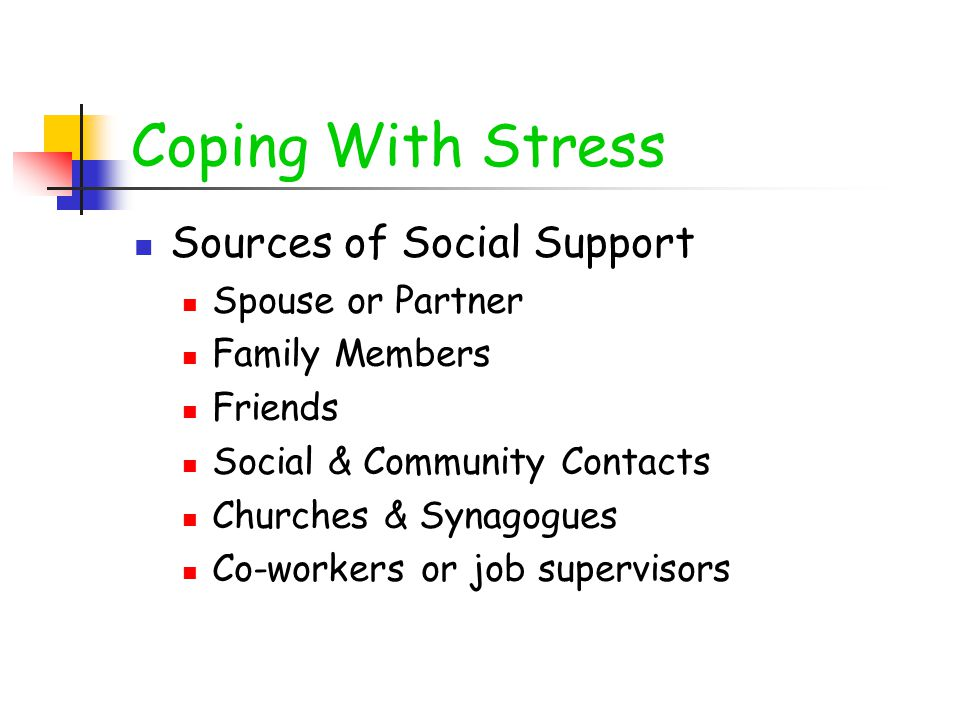 Coping With Stress Sources of Social Support Spouse or Partner Family Members Friends Social & Community Contacts Churches & Synagogues Co-workers or job supervisors