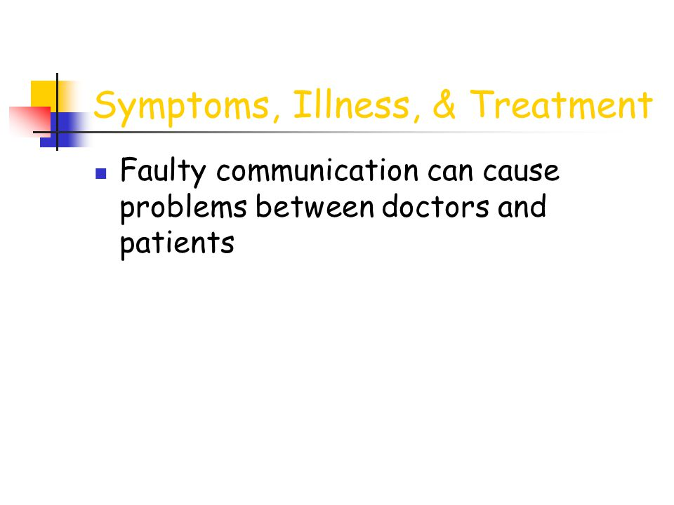 Symptoms, Illness, & Treatment Faulty communication can cause problems between doctors and patients