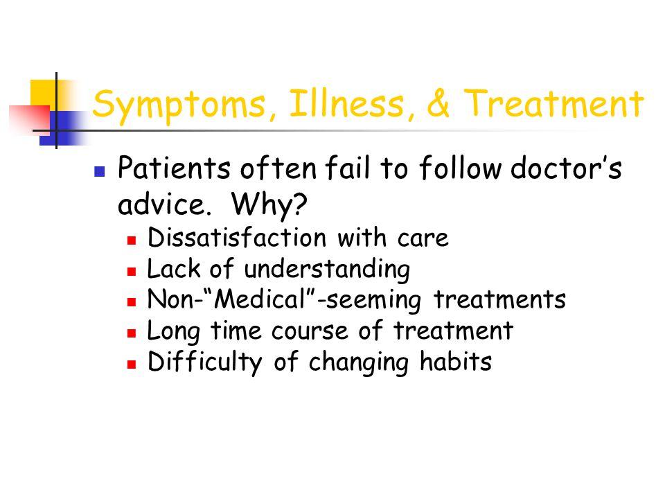 Symptoms, Illness, & Treatment Patients often fail to follow doctor's advice.