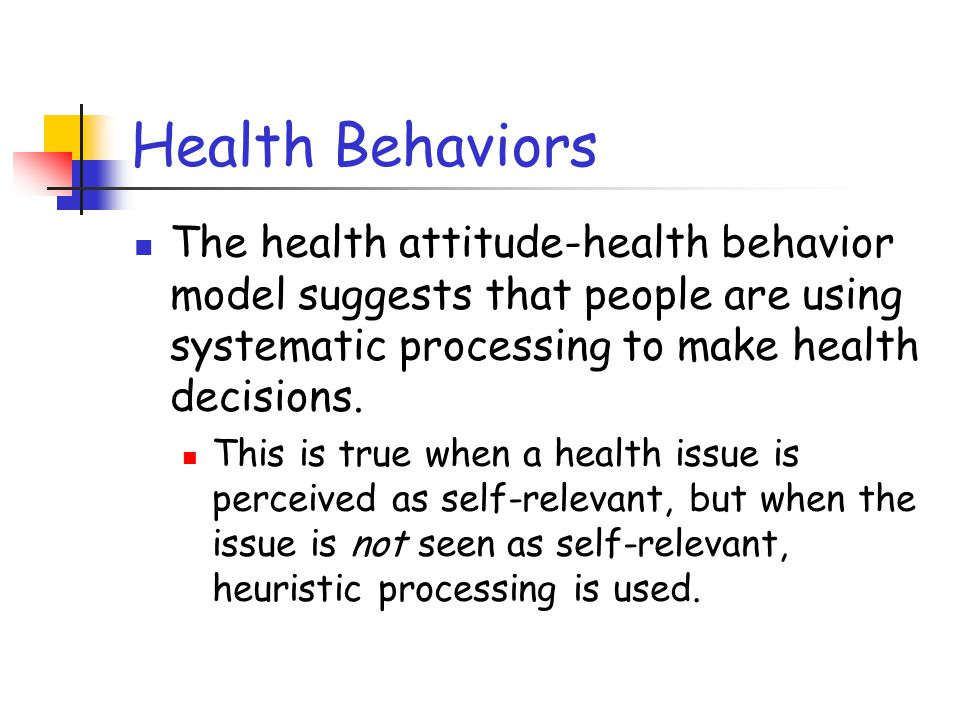Health Behaviors For people who live at low income levels, the cost of preventative health care and limitations on access to health care are much more important determinants of health behavior than are attitudes.