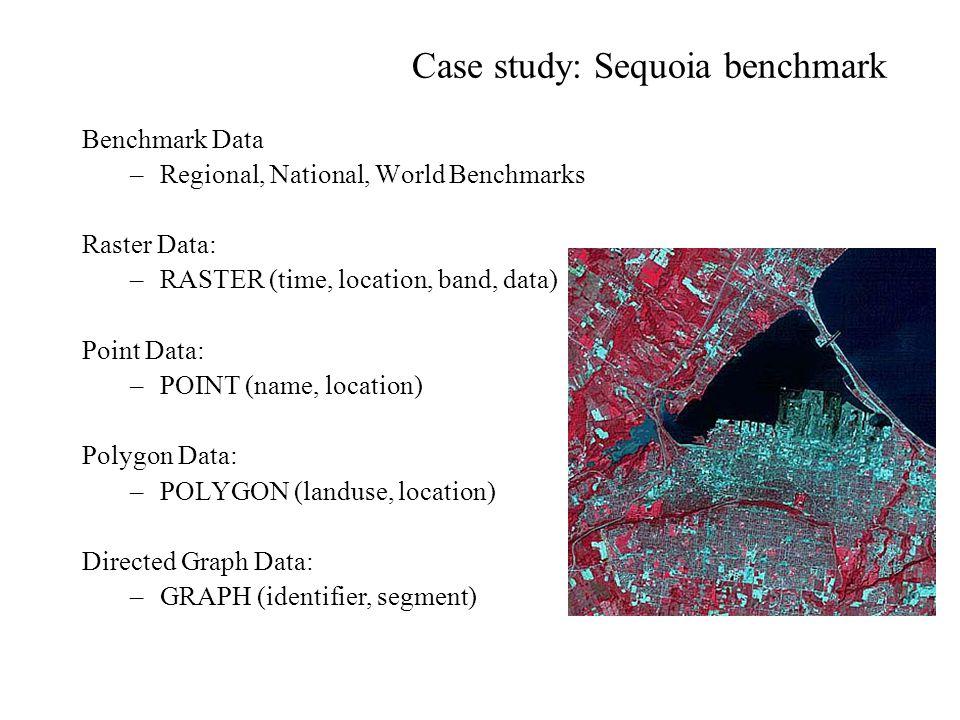 Case study: Sequoia benchmark Benchmark Data –Regional, National, World Benchmarks Raster Data: –RASTER (time, location, band, data) Point Data: –POIN