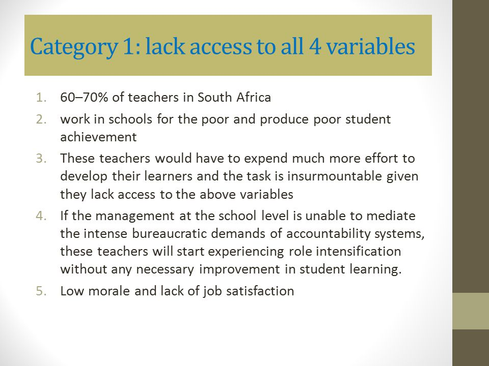 Category 1: lack access to all 4 variables 1.60–70% of teachers in South Africa 2.work in schools for the poor and produce poor student achievement 3.
