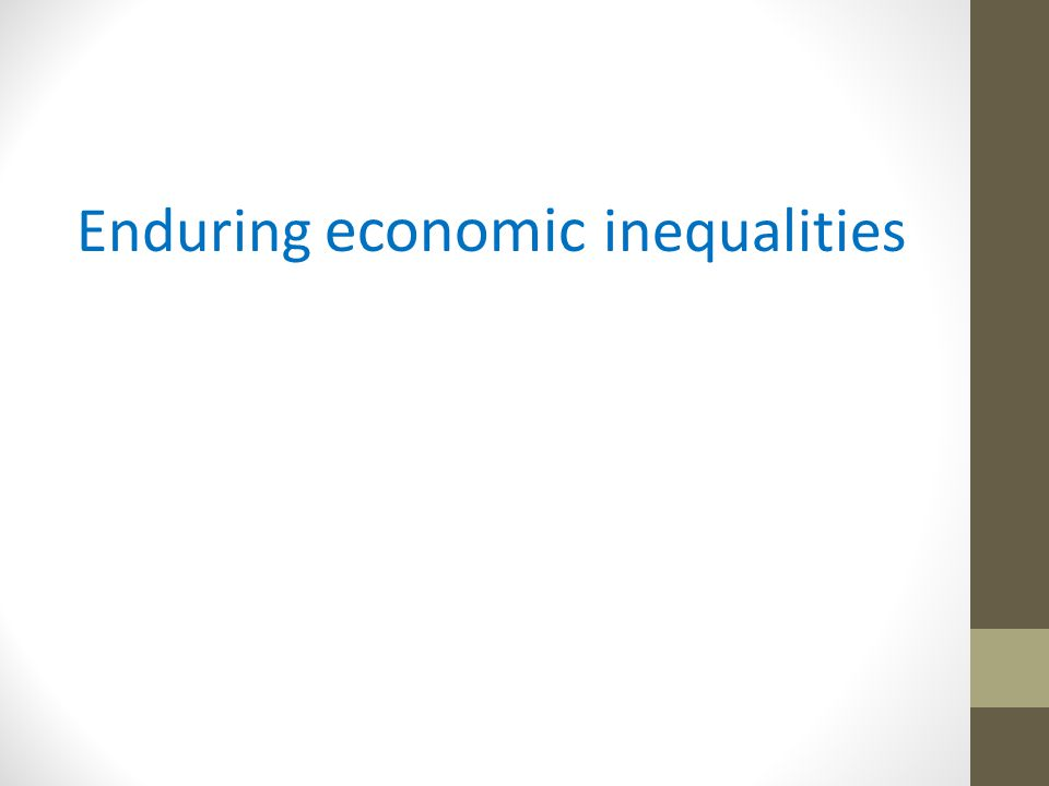 Enduring economic inequalities