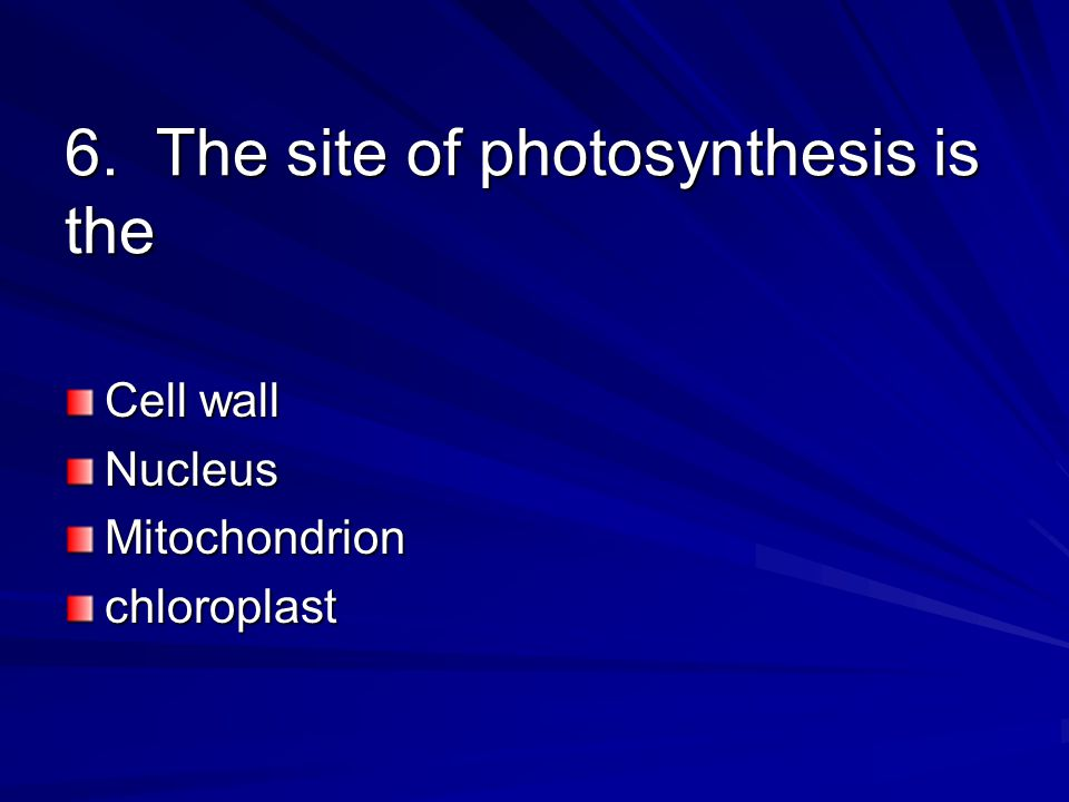 6. The site of photosynthesis is the Cell wall NucleusMitochondrionchloroplast