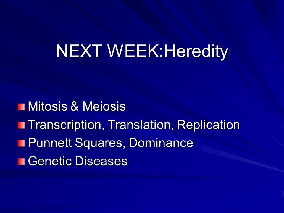 NEXT WEEK:Heredity Mitosis & Meiosis Transcription, Translation, Replication Punnett Squares, Dominance Genetic Diseases