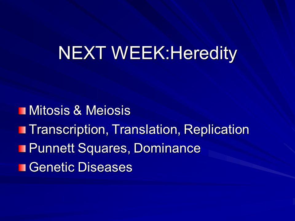 NEXT WEEK:Heredity Mitosis & Meiosis Transcription, Translation, Replication Punnett Squares, Dominance Genetic Diseases