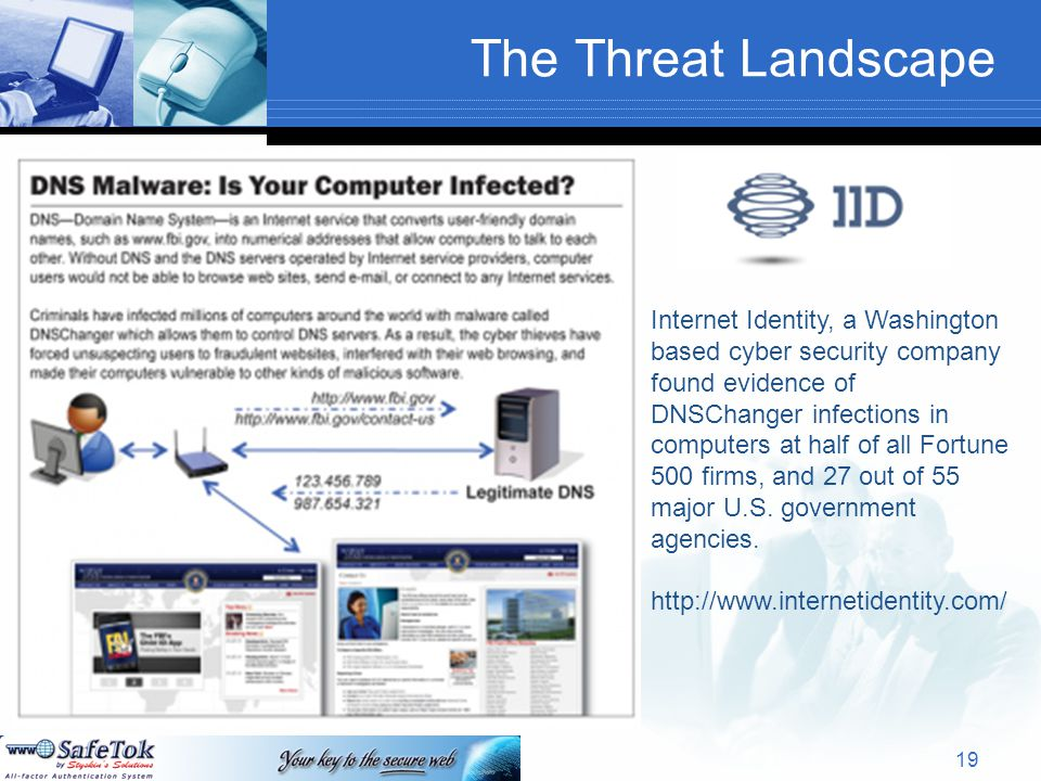 The Threat Landscape 19 Internet Identity, a Washington based cyber security company found evidence of DNSChanger infections in computers at half of all Fortune 500 firms, and 27 out of 55 major U.S.