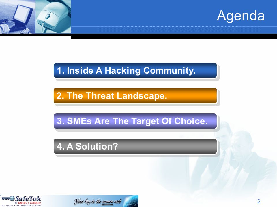 Agenda 1. Inside A Hacking Community. 2. The Threat Landscape.
