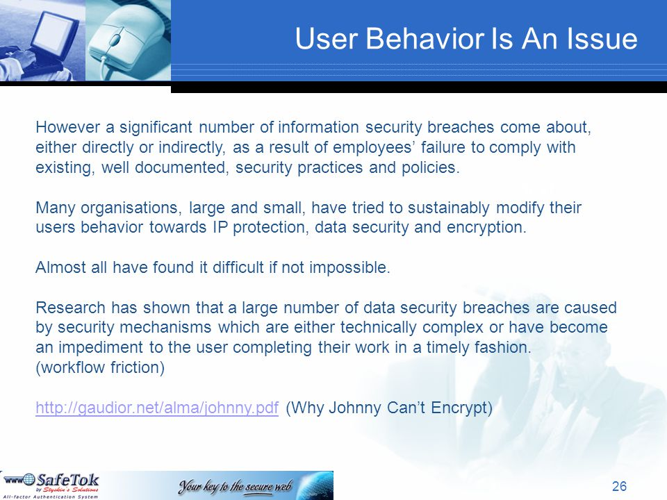 User Behavior Is An Issue Text However a significant number of information security breaches come about, either directly or indirectly, as a result of employees' failure to comply with existing, well documented, security practices and policies.