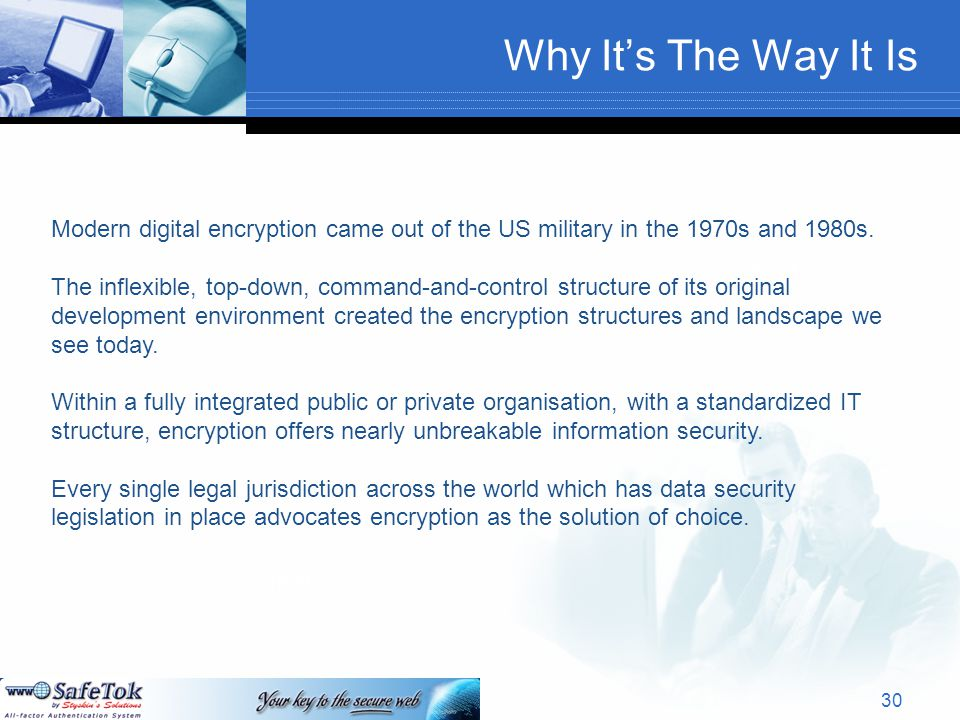 Why It's The Way It Is Text Modern digital encryption came out of the US military in the 1970s and 1980s.