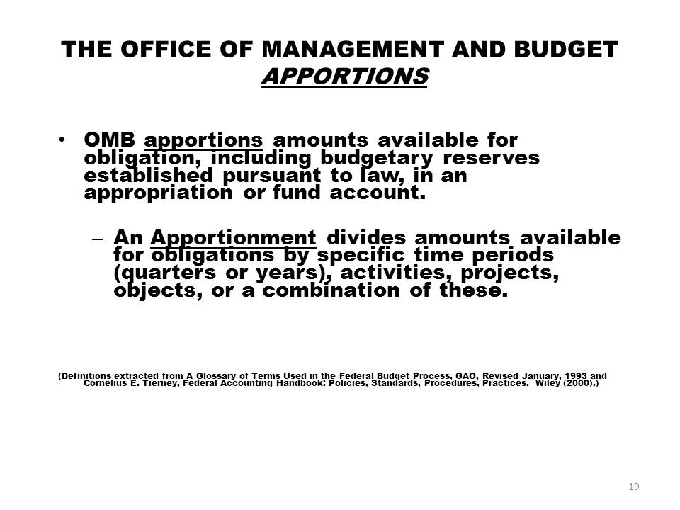 OMB OSD Treasury Dept Treasury Dept Service (Air Force) Service (Air Force) PEO/MAJCOM (AFMC) Program Managers/Units Budget Authority Authorization Appropriation 18