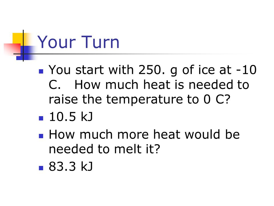 Your Turn You start with 250. g of ice at -10 C. How much heat is needed to raise the temperature to 0 C? 10.5 kJ How much more heat would be needed t
