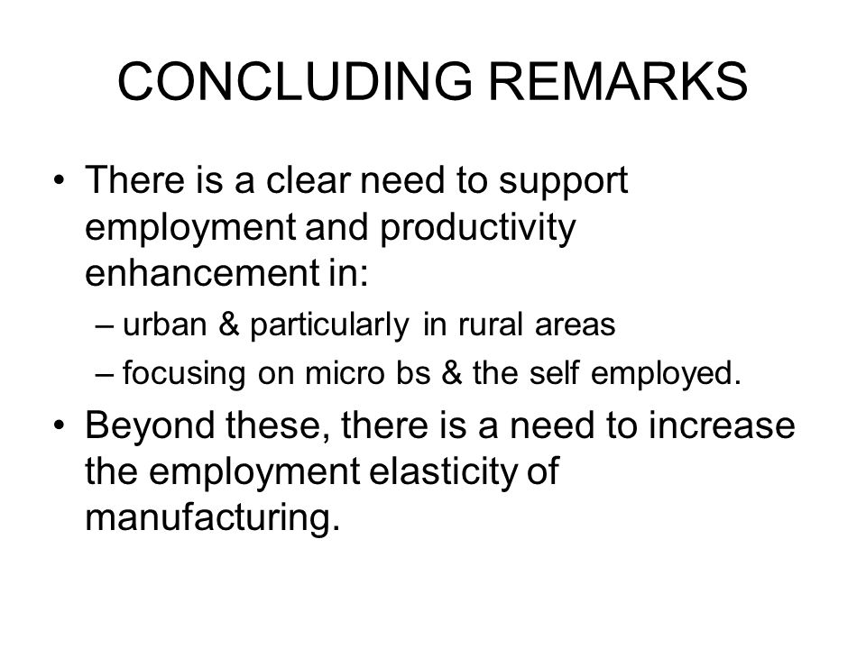 CONCLUDING REMARKS There is a clear need to support employment and productivity enhancement in: –urban & particularly in rural areas –focusing on micro bs & the self employed.