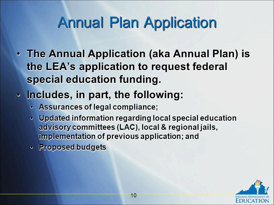 Annual Plan Application The Annual Application (aka Annual Plan) is the LEA's application to request federal special education funding.The Annual Application (aka Annual Plan) is the LEA's application to request federal special education funding.