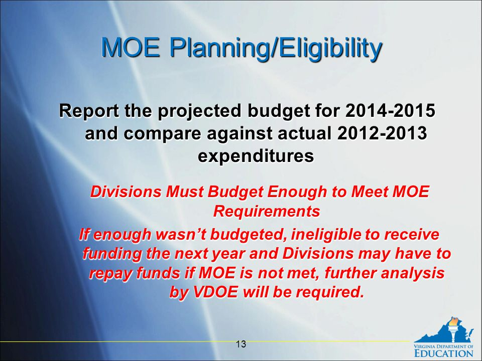 MOE Planning/Eligibility Report the projected budget for 2014-2015 and compare against actual 2012-2013 expenditures Divisions Must Budget Enough to Meet MOE Requirements If enough wasn't budgeted, ineligible to receive funding the next year and Divisions may have to repay funds if MOE is not met, further analysis by VDOE will be required.