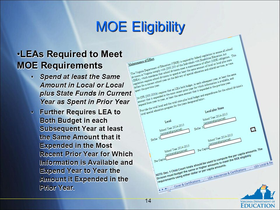 MOE Eligibility LEAs Required to Meet MOE RequirementsLEAs Required to Meet MOE Requirements Spend at least the Same Amount in Local or Local plus State Funds in Current Year as Spent in Prior YearSpend at least the Same Amount in Local or Local plus State Funds in Current Year as Spent in Prior Year Further Requires LEA to Both Budget in each Subsequent Year at least the Same Amount that it Expended in the Most Recent Prior Year for Which Information is Available and Expend Year to Year the Amount it Expended in the Prior Year.Further Requires LEA to Both Budget in each Subsequent Year at least the Same Amount that it Expended in the Most Recent Prior Year for Which Information is Available and Expend Year to Year the Amount it Expended in the Prior Year.