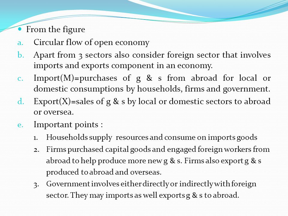 From the figure a. Circular flow of open economy b. Apart from 3 sectors also consider foreign sector that involves imports and exports component in a