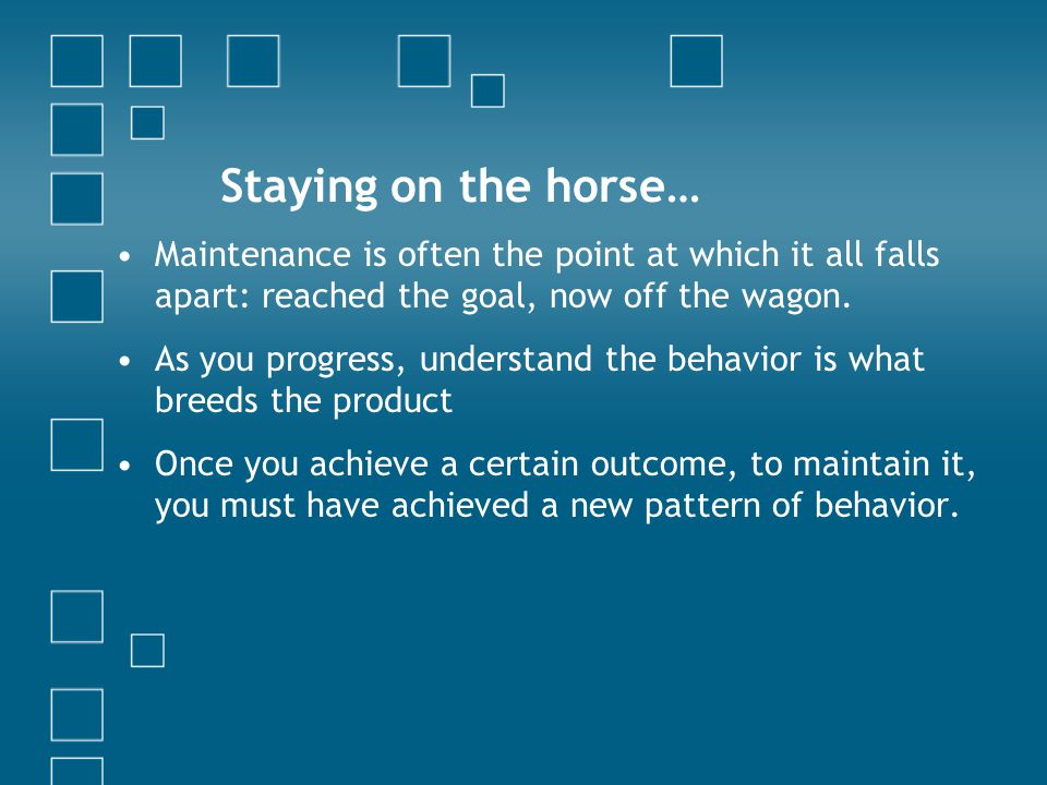 Staying on the horse… Maintenance is often the point at which it all falls apart: reached the goal, now off the wagon. As you progress, understand the