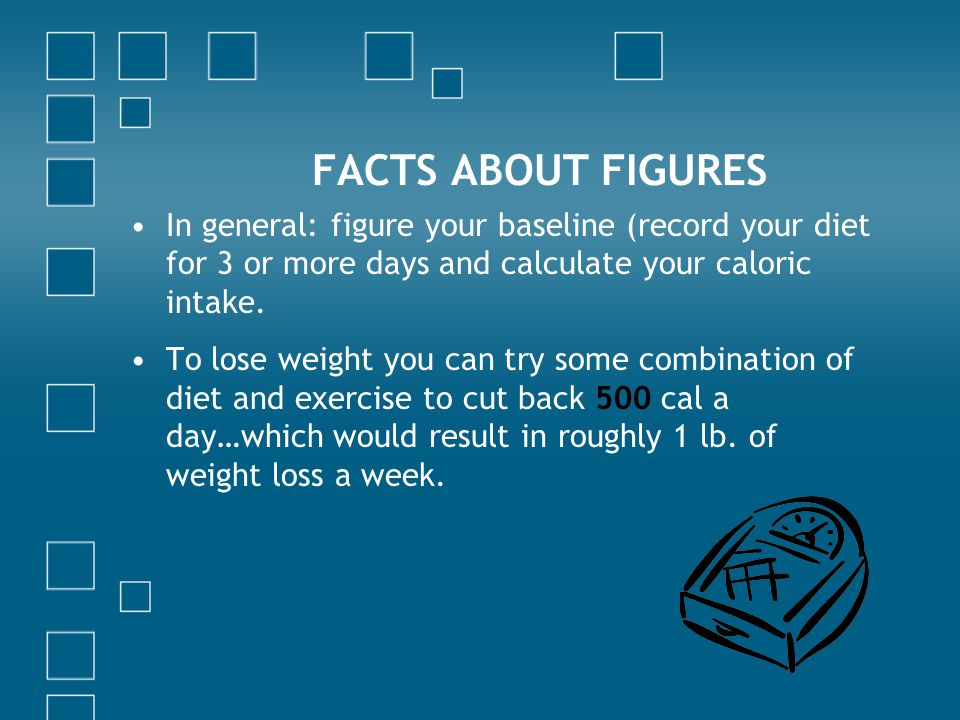 FACTS ABOUT FIGURES In general: figure your baseline (record your diet for 3 or more days and calculate your caloric intake.