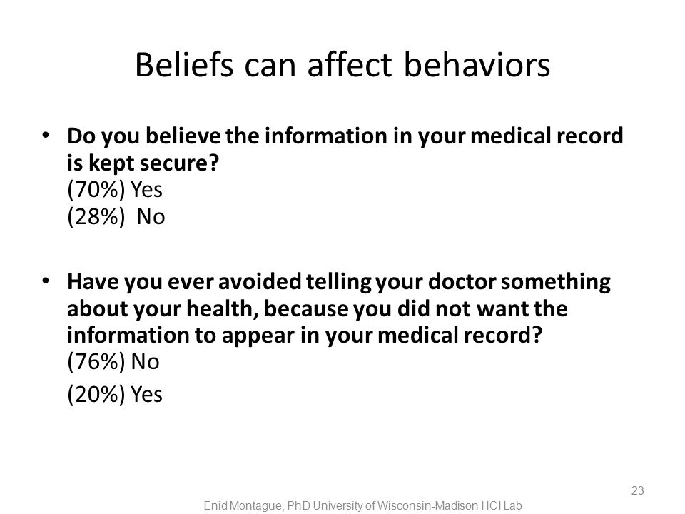 Beliefs can affect behaviors Do you believe the information in your medical record is kept secure.