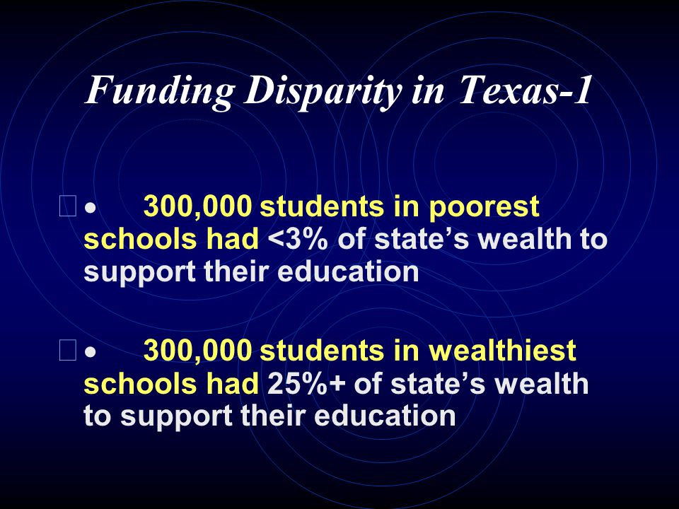 Public School Finance (Pre-2007) Expenditures for public school operations rank Texas 40 th of the 50 states State funding (30-35%) comes from:  The Permanent School Fund;  The Available School Fund;  The Foundation School Program (largest portion) Local funding (60%) comes from ad valorem property taxes (major source of revenue) and general-obligation bonds