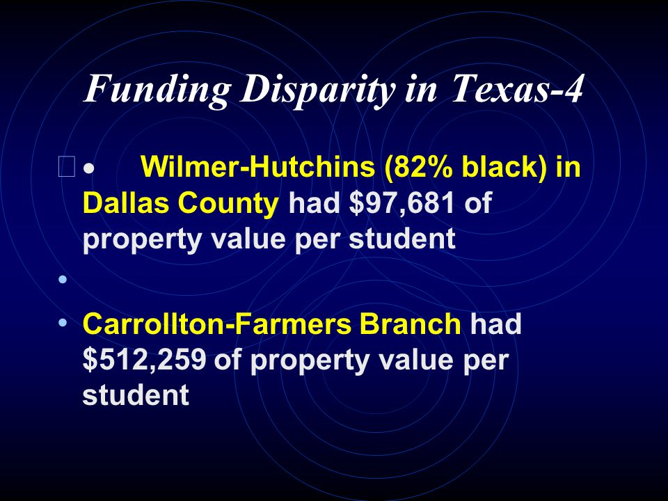 Funding Disparity in Texas-3   Edgewood District (95% Hispanic) has $38,854 of property value per student   Alamo Heights (same county) had $570,109 of property value per student