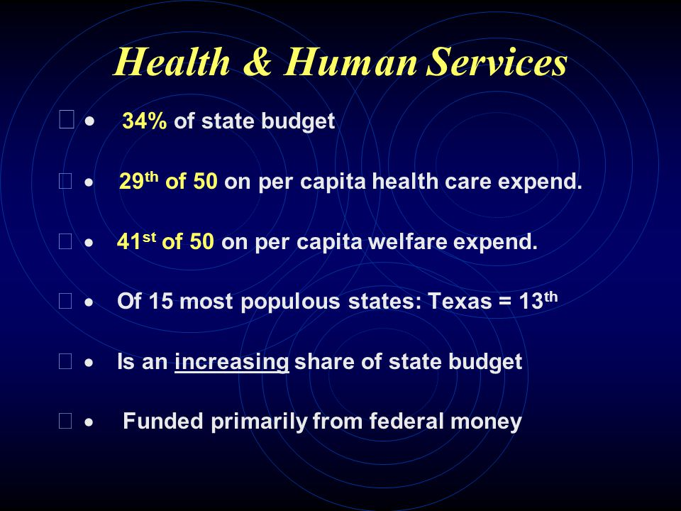 Health and Human Services The 2 nd largest category of state spending although 60% of funding originates with the federal government Social services include:  Temporary Assistance to Needy Families;  Health insurance;  Unemployment insurance
